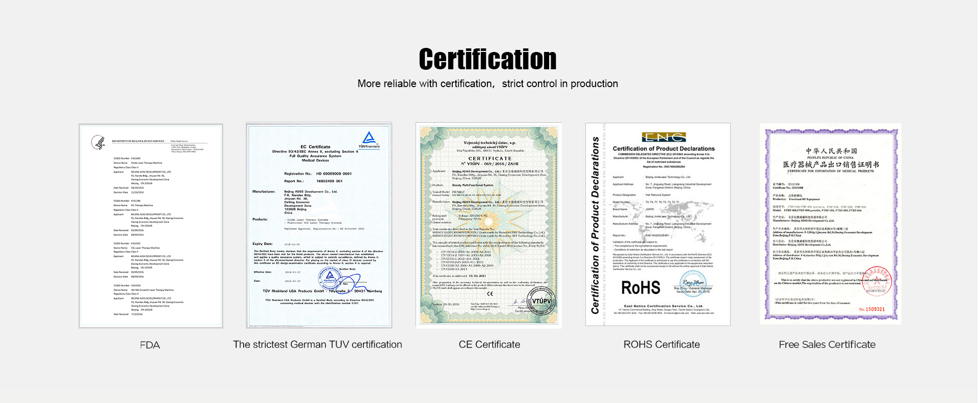 Medical laser beauty equipment product certificate